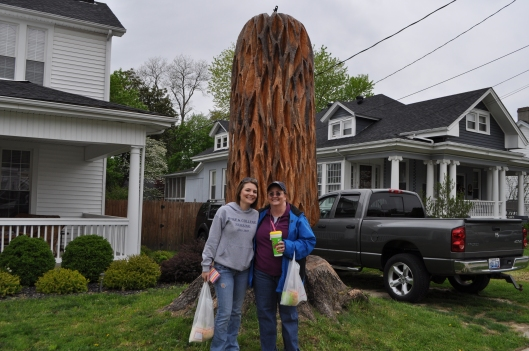 Kathryn and I in front of a giant wooden morel.