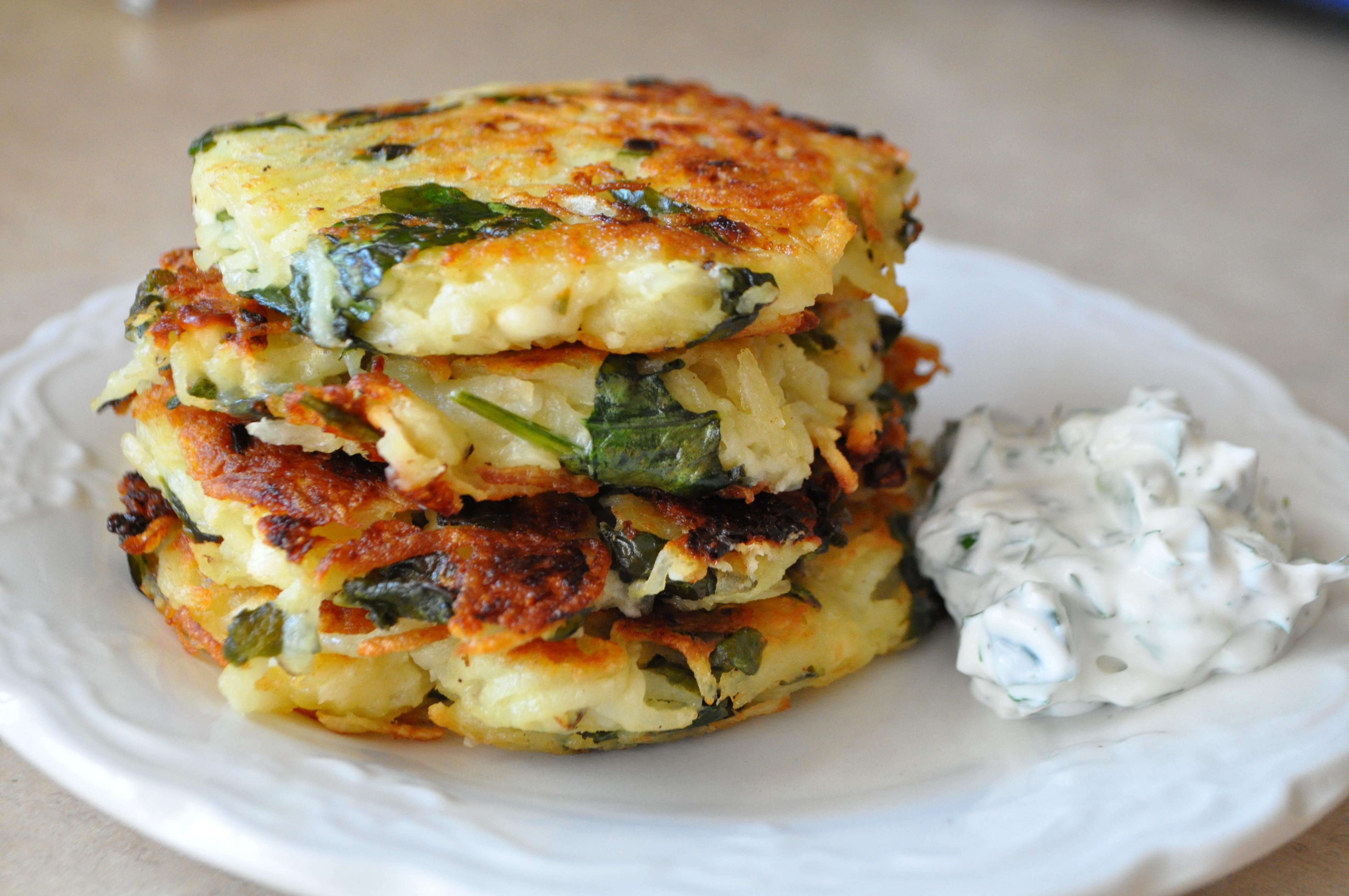 Spinach, Feta & Potato Latkes | AnnaShortcakes